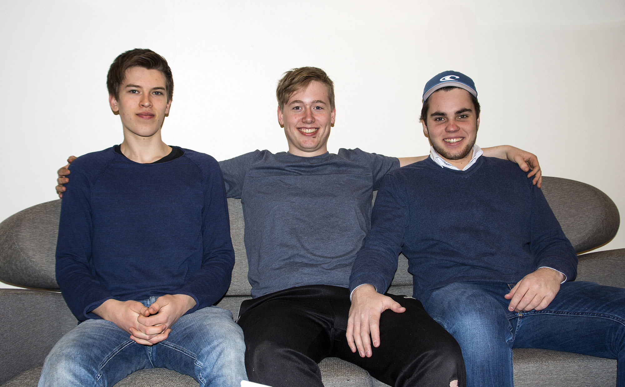 Jonathan Følsvik, Nikolai Hånes og Sander Gjertsen likar seg godt i orkesteret. Foto: Malin Nordby Kvamme